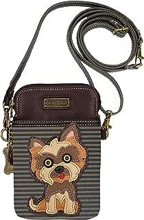 Chala Group Yorkshire Terrier Cellphone Crossbody Handbag - Convertible Strap Yorkie Mom, Brown Stripes, 5