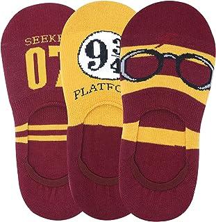 Balenzia x Harry Potter Potter 07, Lightning Bolt & Glasses, Platform 9 3/4 No Show Socks for Women (Pack of 3)- Yellow & ...