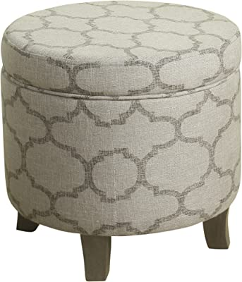 HomePop Cole Classics Round Storage Ottoman with Lid, Taupe and Grey Geometric Pattern