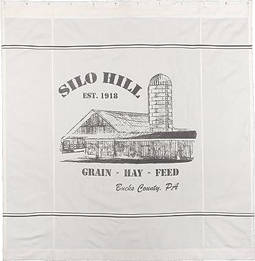 Silo Hill Shower Curtain, 72x72, Farmhouse Style Bathroom Décor, Printed Off White Canvas