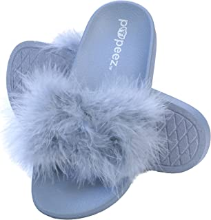 Pupeez Girls Open Toe Flip Flop Slide Slippers with Soft Faux Fur Top and Hard Sole