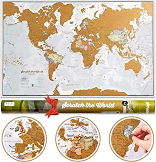 Mapa świata do zdrapywania z tubą prezentową - Rozmiar XL