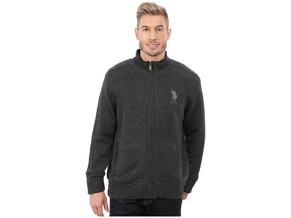 U.S. POLO ASSN. Sherpa Lined Sweater (Charcoal Heather) Men