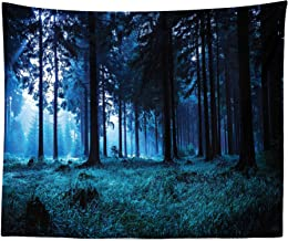 Lunarable Forest Tapestry King Size, Night Scene of Autumn Forest in Thuringia Germany Foggy Pine Trees Greenery, Wall Hanging Bedspread Bed Cover Wall Decor, 104