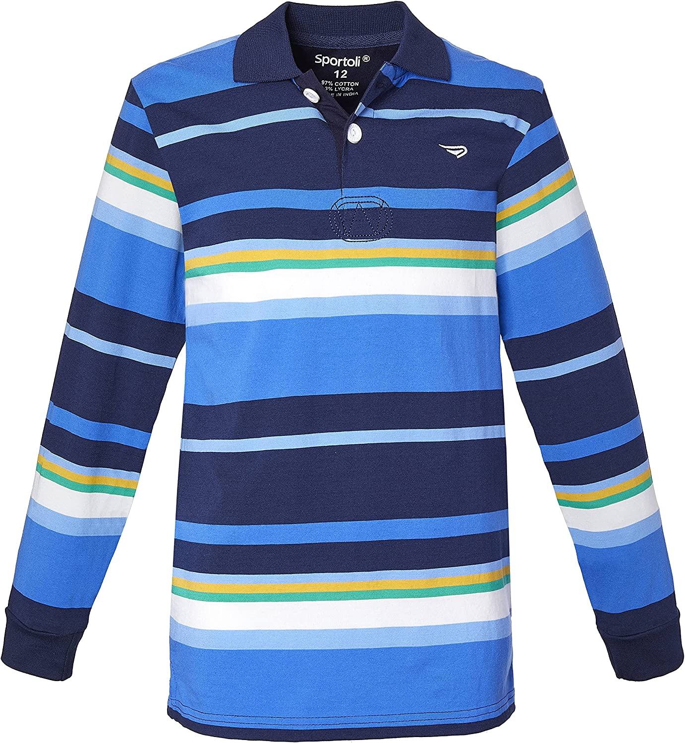 Sportoli Boys Cotton Wide Lowest price challenge Striped Shirt Polo Sleeve Rugby Long Limited time for free shipping