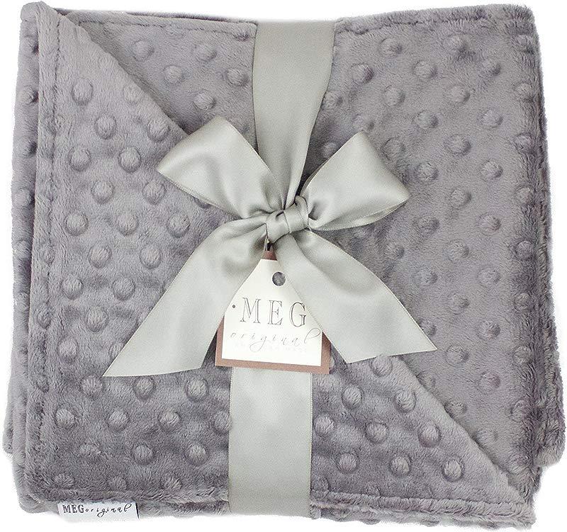 MEG Original Charcoal Grey Minky Dot Baby Blanket 397