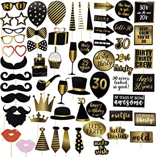 30th Birthday Photo Booth Props - 60-Pack Birthday Party Supplies, Selfie Props, Party Favors for Cocktail Parties, Black and Gold