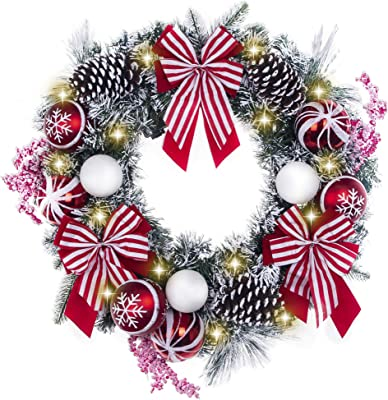 TFWell Christmas Wreath for Front Door, Pre-Lit 24 Inch Red White Christmas Door Wreath, Lighted Wreath with Berries, Bows, Christmas Ball Ornaments and Pine Cones, Battery Operated 20 LED Lights