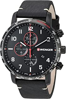 Men's Attitude Stainless Steel Swiss-Quartz Leather Strap, Black, 22 Casual Watch (Model: 01.1543.106)