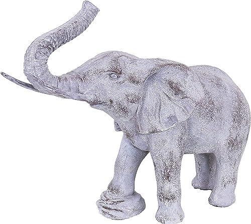 Sunnydaze Elijah The Excellent Elephant Statue - Patio, Yard, Pool, and Garden Decor - Artistic Polystone Sculpture - Indoor/Outdoor Figurine - 24-Inch