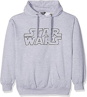 STAR WARS Men's Basic Logo Hoodie, Grey