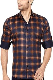 GLOBALRANG Checks Red Casual Shirt for Men
