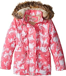 Peach-Finish Microfiber Jacket w/ Detachable Faux Fur Hood (Little Kids/Big Kids)