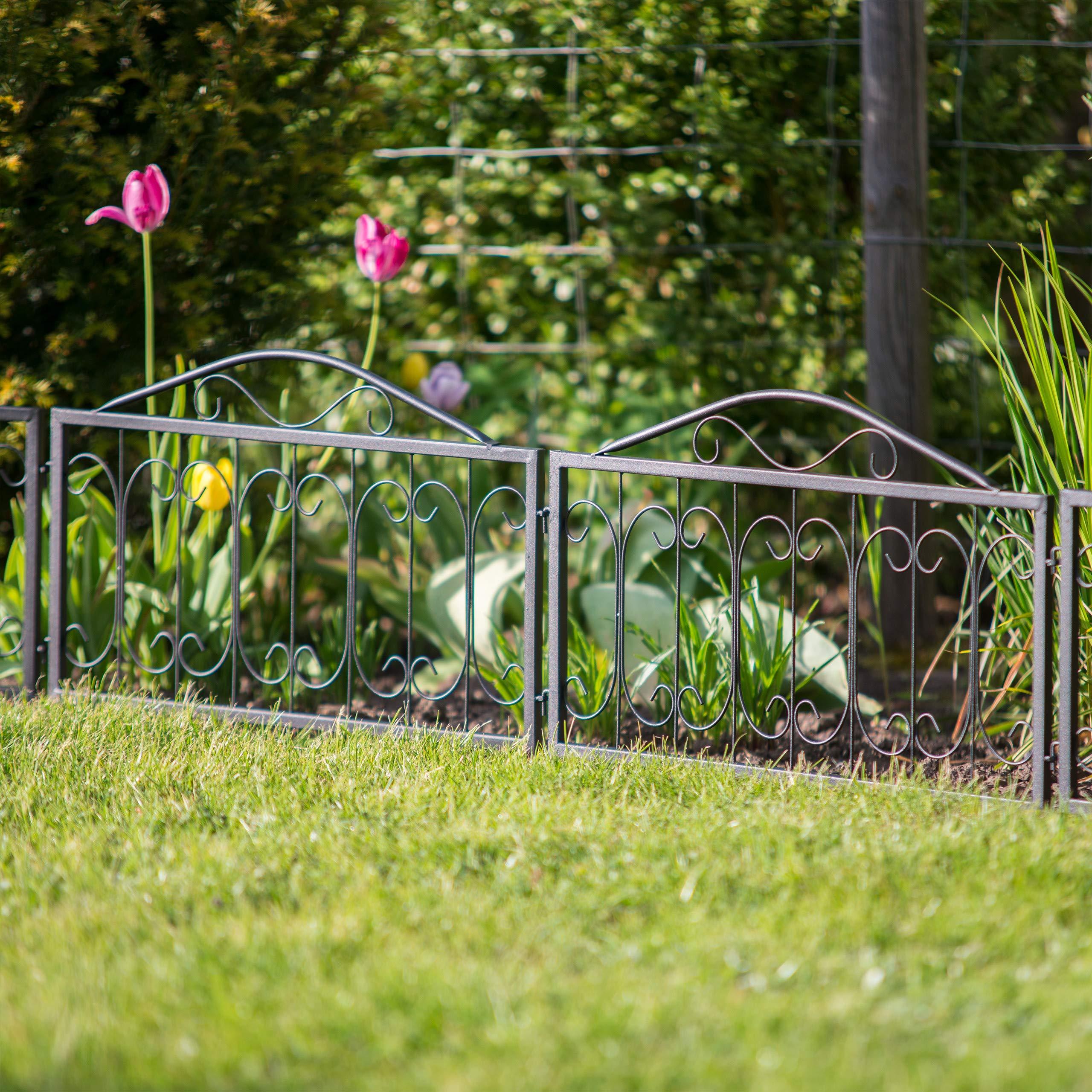 Relaxdays Valla de jardín Goth, Estilo nostálgico, Delimitador de Bordes, Diseño A, 34, 5 x 56, 5 cm, 4 Uds, Negro, 1.5 x 225 x 47 cm: Amazon.es: Jardín