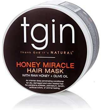 tgin Honey Miracle Hair Mask Deep Conditioner With Raw Honey & Olive Oil For Natural Hair - Dry Hair - Curly Hair - 12 Oz