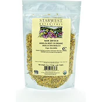 Starwest Botanicals Organic Angelica Root C/S, 4 Ounces