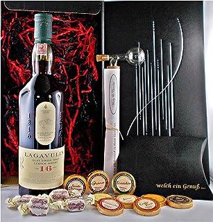 Geschenk Lagavulin 16 Jahre Single Malt Whisky  Glaskugelportionierer  Edelschokolade  Whiskey Fudge