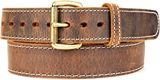 Daltech Force - Distressed Steel Core American Bison Leather Gun Belt - 14/15 oz - CCW - Brown - 1.5 inch Wide - 1030DW-45