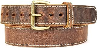 Distressed Steel Core American Bison Leather Gun Belt - 14/15 oz - CCW - Brown - 1.5 inch Wide - 1030DW-45