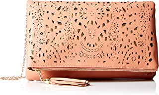 BMC Para Mujer perforada Cut Out Oro Accent Foldover Bolsa Fashion bolso de embrague
