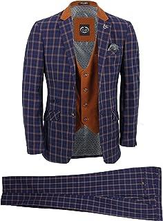 Mens 3 Piece Suit Smart Retro Orange Check on Navy Blue Contrasting Tan Waistcoat & Lapels