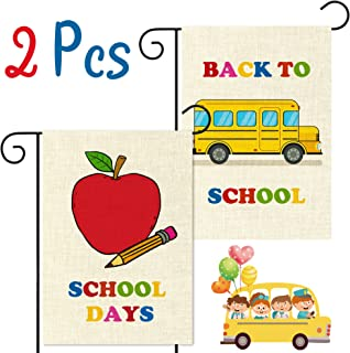 WATINC 2Pcs Back to School Garden Flag Apple School Bus Flag for School Days Decorative Double Sided Burlap Lawn Yard Flags for Indoor Outdoor Decoration 12.4 x 18.3 Inch