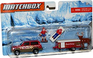 Matchbox Hitch & Haul Vacation Day 2-Car Set Jeep Cherokee Red / Pop Up Camper Red