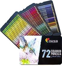 72 Crayon de Couleurs, Numérotés, avec Boîte Métal Zenacolor - Set de 72 Couleurs Uniques et Différentes - Rangement Facile avec 3 Etuis en Metal