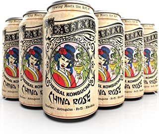 Tealixir Herbal Kombucha Tea - China Rose - Inspired By Traditional Chinese Medicine, This Herbal Tonic Features Fo-Ti, Huang Qi, Eleuthro And Rhodiola. ~ 12 PACK