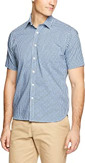 Blazer Men's Thomas Short Sleeve Check Shirt, Aqua-Navy