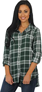 UG Apparel NCAA Women's Boyfriend Plaid Roll Up Sleeve Shirt