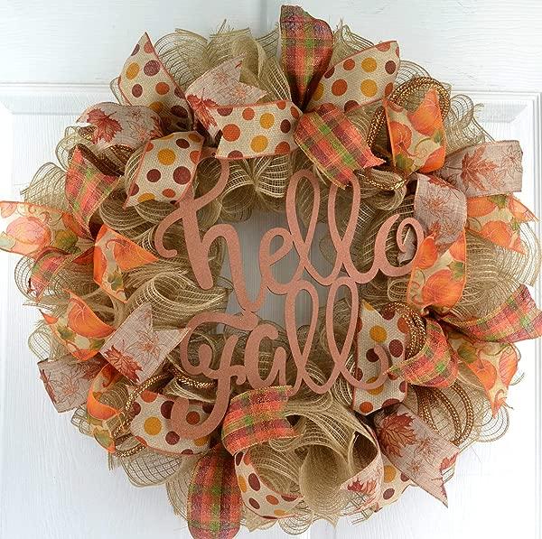 Hello Fall Welcome Autumn Thanksgiving Front Door Outdoor Mesh Wreath Orange Green Jute Burlap