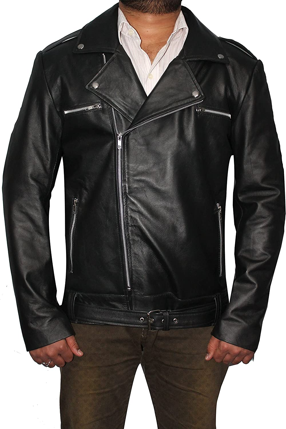 Stylish Black Biker Faux Leather Jacket for Men (XXS- Fit for 35-36 inches Chest)