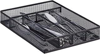 Relaxdays Range-couverts mailles acier métal boîte à couverts bac à couverts HxlxP: 5 x 23,5 x 31,7 cm, noir