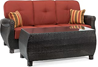 La-Z-Boy Outdoor Breckenridge Resin Wicker Patio Furniture Sofa with Pillows and Coffee Table Set (Brick Red) with All Weather Sunbrella Cushions