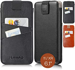 """KAVAJ Case Compatible with Apple iPhone 11 / XR 6.1"""" Leather - Miami - Black Wallet Cover Phone Case with Card Holder"""