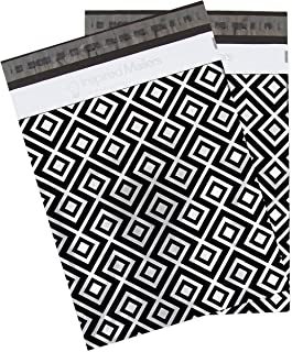 Inspired Mailers Poly Mailers 10x13 Geometric Silver/Black - Pack of 100 - Unpadded Shipping Bags