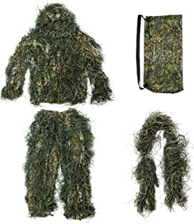 GUGULUZA Ghillie Suit for Men 3D Leaf Camouflage Hunting Clothes for Men with Jacket, Pants, Rifle Wrap Cover -Camo Hunting Clothing