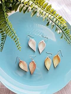 Leather Earrings/Multi-Pack/Metallics/Joanna Gaines Earrings/Leaf/Petal / 3-pair/Gold, Chromed Silver, Rose Gold/Small