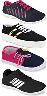 Camfoot Women's (5047-1044-5026-11028) Multicolor Casual Sports Running Shoes (Set of 4 Pair)