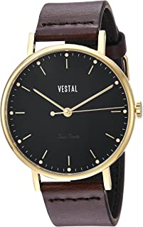 Vestal 'Sophisticate' Swiss Quartz Stainless Steel and Leather Dress Watch, Color:Brown (Model: SP42L05.DB)