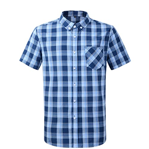 heymoney Men Long Sleeve Casual Plaid Button Down Shirts Dress Shirt
