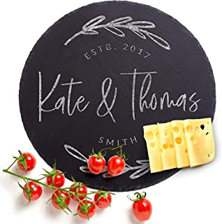 Natural Slate Personalized Cutting Board, 6 Designs, Round Slate Cheese Board, Wedding Gifts for the Couple, Housewarming Gift & Kitchen Sign #G