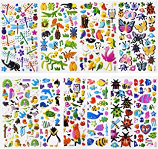 SAVITA 3D Stickers for Kids & Toddlers Puffy Stickers Cute Animal Stickers 480+ Including Butterflies, Insects, Sea Animals and More(12 Sheets)