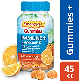 Emergen-C Immune+ Gummies (45 Count, Super Orange Flavor) Immune System Support with 500mg Vitamin C Dietary Supplement, Caffeine Free, Gluten Free