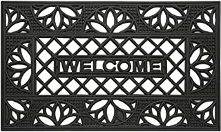 """Achim Home Furnishings Wrought Iron Welcome Rubber Door Mat, 18 by 30"""", Black (WRM1830TP6)"""