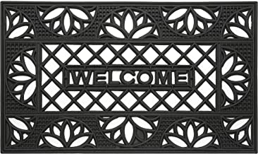 """Achim Home Furnishings WRM1830TP6 Tulip Wrought Iron Rubber Door Mat, 18 by 30"""""""