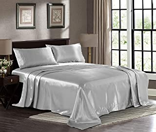 Fresh Linen Ultra Soft Silky Satin Bed Sheet Set with Pillowcase, Queen, Grey
