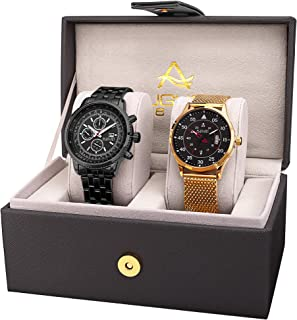 August Steiner AS8239 Men's Watch Set - 2 Designer Stainless Steel Watches, Mesh and Link Fashion Bracelet Bands, Casual and Formal Dress