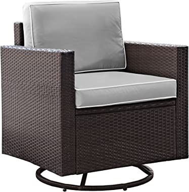 Crosley Furniture KO70094BR-GY Palm Harbor Outdoor Wicker Swivel Rocker Chair, Brown with Gray Cushions
